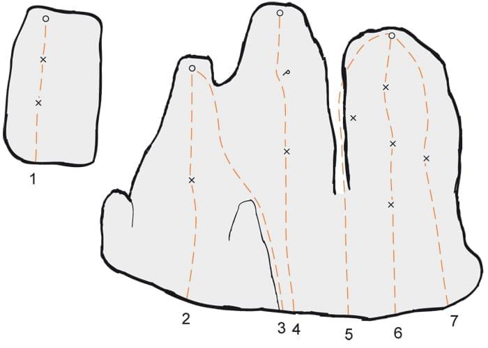 Klettern im Konstein Topo zum Kletterfels Backenzahn