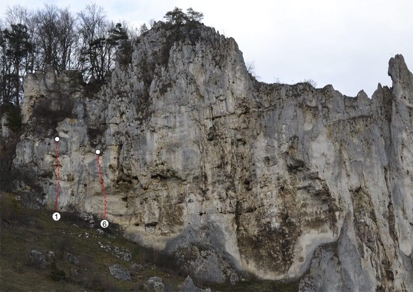 Klettern im Konstein Topo zum Kletterfels Dohlenfels links
