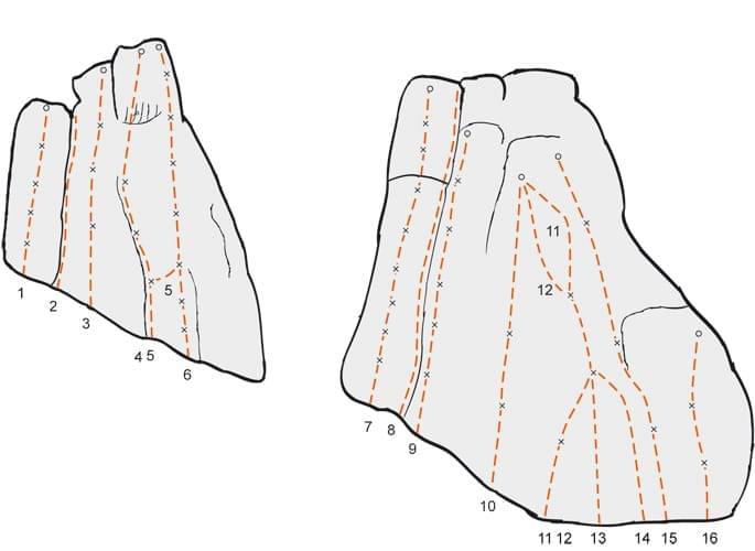 Klettern im Altmühltal Topo zum Kletterfels Kleiner Keilstein