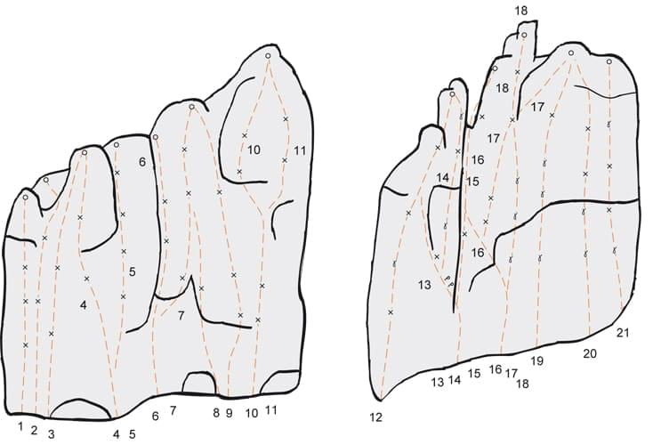 Klettern im Konstein Topo zum Kletterfels Merltürme