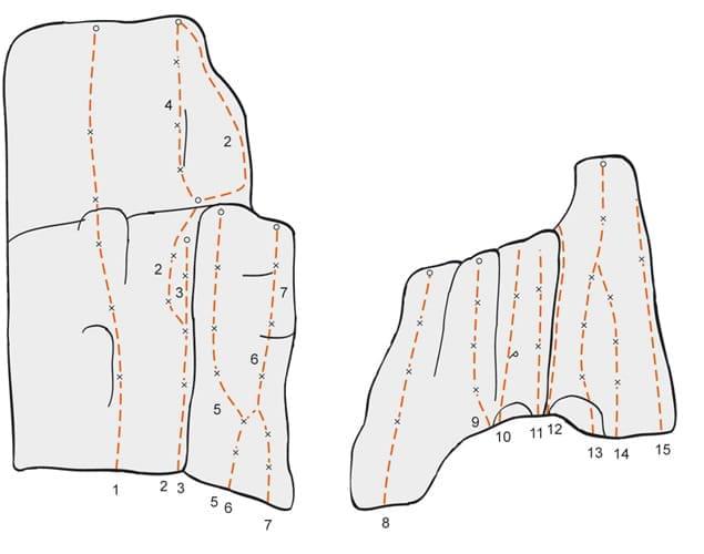 Klettern im Altmühltal Topo zum Kletterfels Linker Bereich