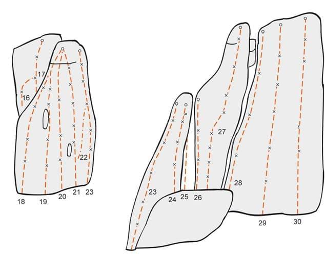 Klettern im Altmühltal Topo zum Kletterfels Rechter Bereich
