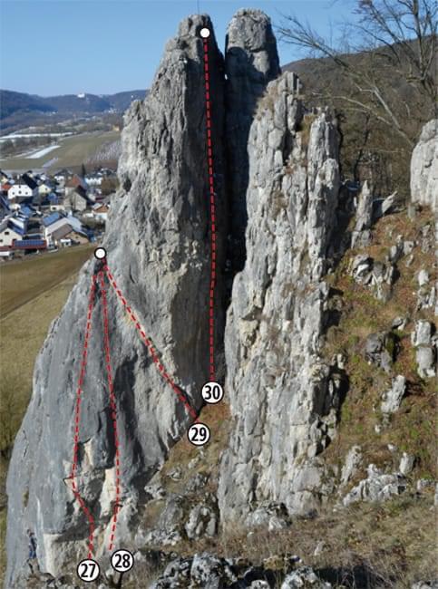 Klettern im Altmühltal Topo zum Kletterfels Ostseite