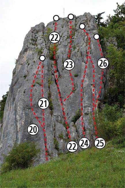 Klettern im Altmühltal Topo zum Kletterfels Süd Seite