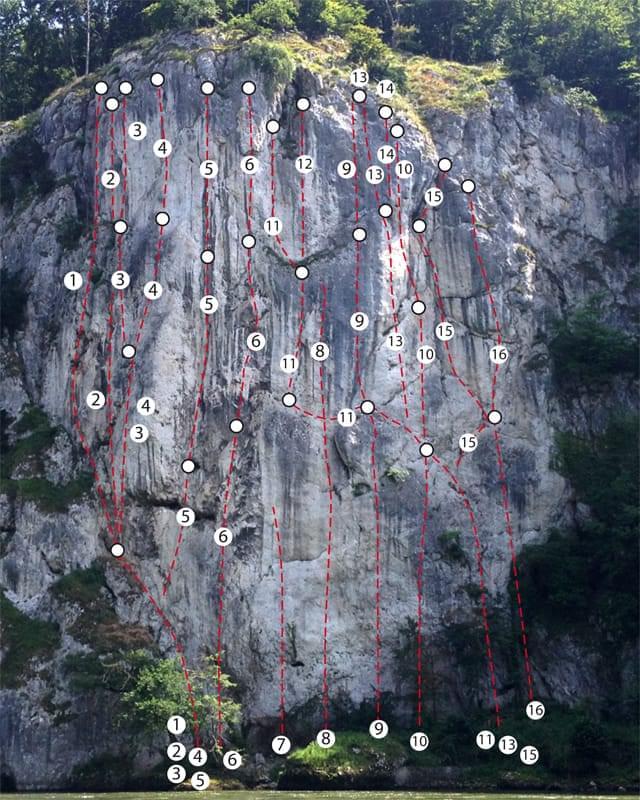 Klettern im Donaudurchbruch + Tal Topo zum Kletterfels Römerwand