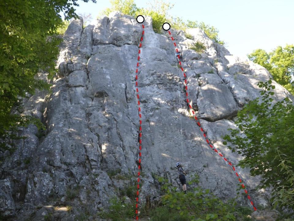 Klettern im Konstein Topo zum Kletterfels Münchner Wand